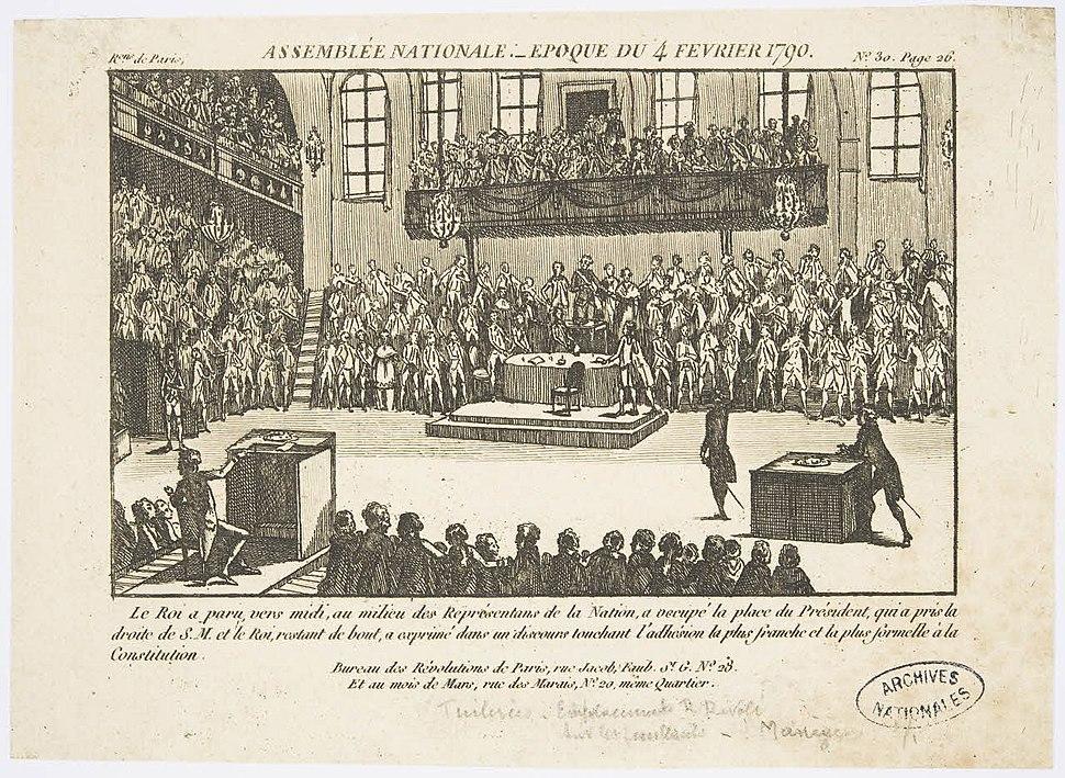 Gravure Assemblée nationale, époque du 4 février 1790 1 - Archives Nationales - AE-II-3878