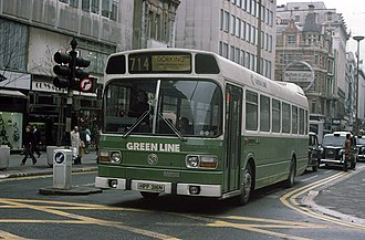 Green Line Coaches - Leyland National on Oxford Street in June 1976