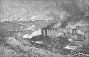 Gunboat - Union ironclad river gunboats assault the Confederates at Fort Donelson, February, 1862.