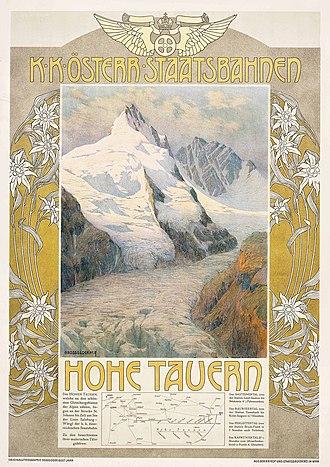 Imperial Royal Austrian State Railways - Image: Gustav Jahn Hohe Tauern, Grossglockner (Werbeplakat)