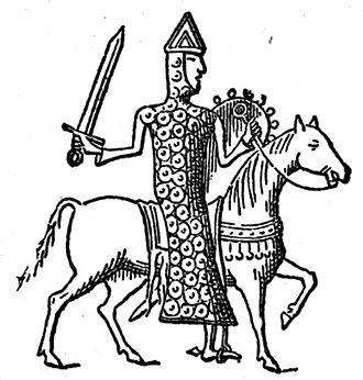Guy II of Laval, second Lord of the town, after a seal from 1095. Guy II de Laval.jpg
