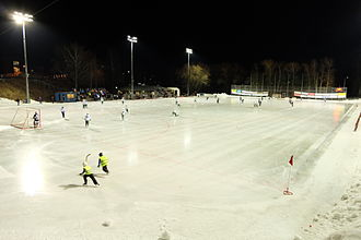 Ball boy - The skaters in yellow vests in the foreground are ball boys at this bandy game.