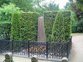 Assistens Cemetery (Copenhagen) - Danish author Hans Christian Andersen's grave (replaced memorial stone)