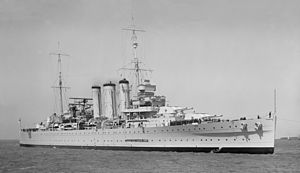 County-class cruiser - Image: HMAS Australia Oct 1937 SLV straightened