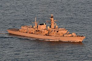 HMS Iron Duke at sea off the coast of Jersey MoD.jpg
