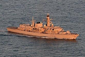 HMS Iron Duke (F234) - Image: HMS Iron Duke at sea off the coast of Jersey Mo D