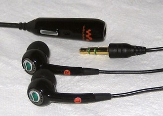 Sony Ericsson W800 - The stereo portable handsfree headset, HPM-70, included with the W800 but with the grey colour