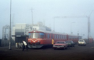 Hirtshalsbanen - Railcar from Hjørring Privatbaner in the fog at Hirtshals ferry port in 1975.