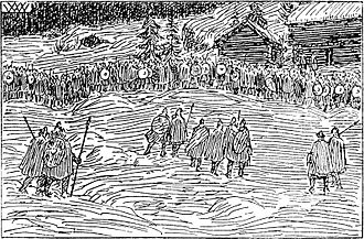 Inge I of Norway - King Inge's army at the battle of Oslo in 1161, as imagined by artist Wilhelm Wetlesen in the 1899 edition of Heimskringla.