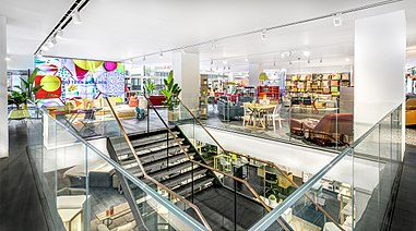 the interior of habitatus flagship store on tottenham court road london