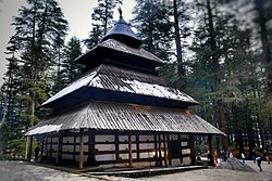 External view of ancient Hidimba Devi Temple in Manali