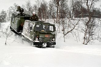 Bandvagn 206 - US Marines in a Norwegian Bv 206 traveling through snow