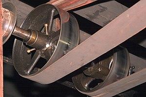 Belt (mechanical) - Flat belt drive in the machine shop at the Hagley Museum