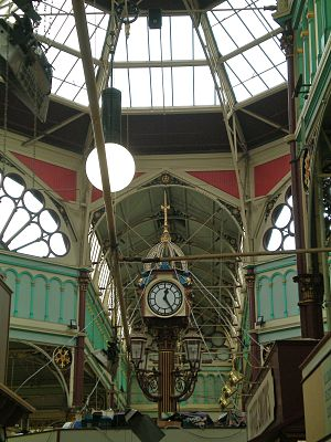Borough Market, Halifax - The clock under the octagonal lantern