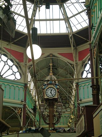 Borough Market, Halifax - The clock under the octagonal lantern