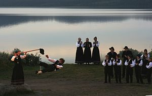 Halling (dance) - Hallgrim Hansegård (Frikar) demonstrating the Halling during the annual Peer Gynt Festival at Lake Gålå.