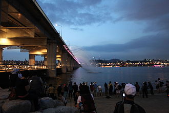 Banpo Bridge - Night view of Banpo Bridge, Seoul.