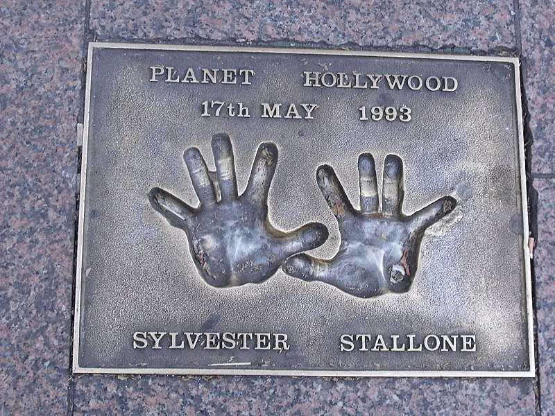 US actor Sylvester Stallone: hand prints at Leicester Square, London.