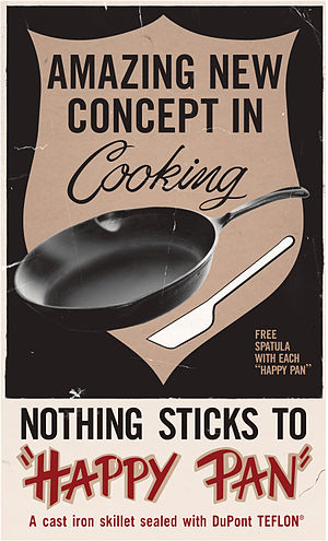 Polytetrafluoroethylene - Advertisement of the Happy Pan, a Teflon-coated pan from the 1960s