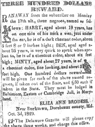 "Harriet Tubman - Notice published in the Cambridge Democrat newspaper, offering a one hundred dollar reward (the equivalent of $3,000 in 2016 currency) for capture of each of the three escaped slaves ""Minty"" (Harriet Tubman) and her brothers Henry and Ben."