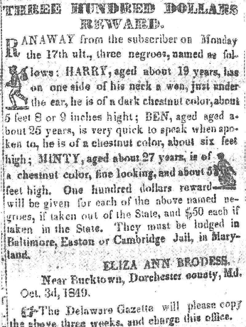 Harriet Tubman Reward Notice 1849