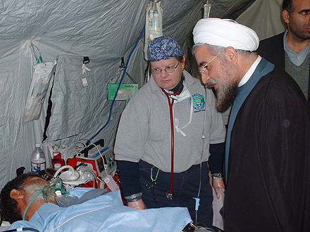 Rouhani visiting Federal Emergency Management Agency (FEMA) field hospital after the 2003 Bam earthquake - Hassan Rouhani