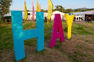 Hay Festival - Sign at the entrance to the 2016 Hay Festival.