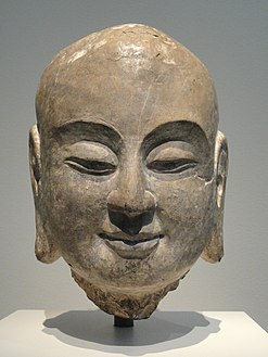 Head of the Disciple Ananda, Hebei province, Fengfeng, northern Xiangtangshan Cave Temples, South Cave, Northern Qi dynasty, 550-577 AD, limestone with traces of pigment - Freer Gallery of Art - DSC05697.JPG