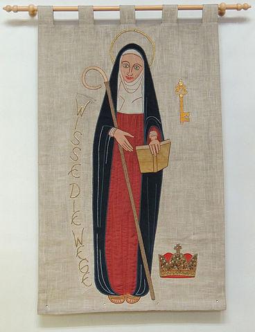 Abbildung Hildegard von Bingen auf einem Wandteppich