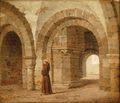 Heinrich Hansen - En munk i krypten i Canterbury Cathedral.png