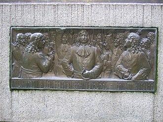 The Prince of Homburg (play) - Relief showing the Prince of Homburg on the Heinrich von Kleist monument of 1910 in Frankfurt an der Oder