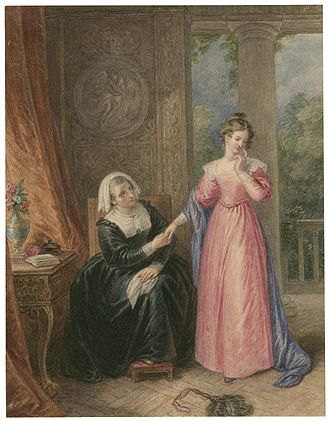 All's Well That Ends Well - A watercolour of Helena and the Countess, from Act I, Scene iii.