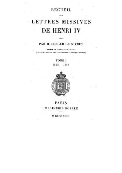 File:Henri IV - Lettres Missives - Tome1.djvu