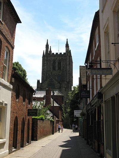 Hereford Cathedral. Owing to its cathedral, Hereford is a city; the only one in Herefordshire. Hereford Cathedral, from Church Street.jpg