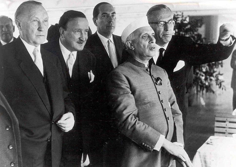 Hermann Josef Abs - mit Adenauer und Nehru 1956