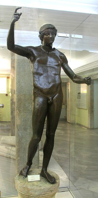 Trabzon - Bronze statue of Hermes, 2nd century BCE, found near Tabakhane bridge in the center of Trabzon. On display in the Trabzon Museum.