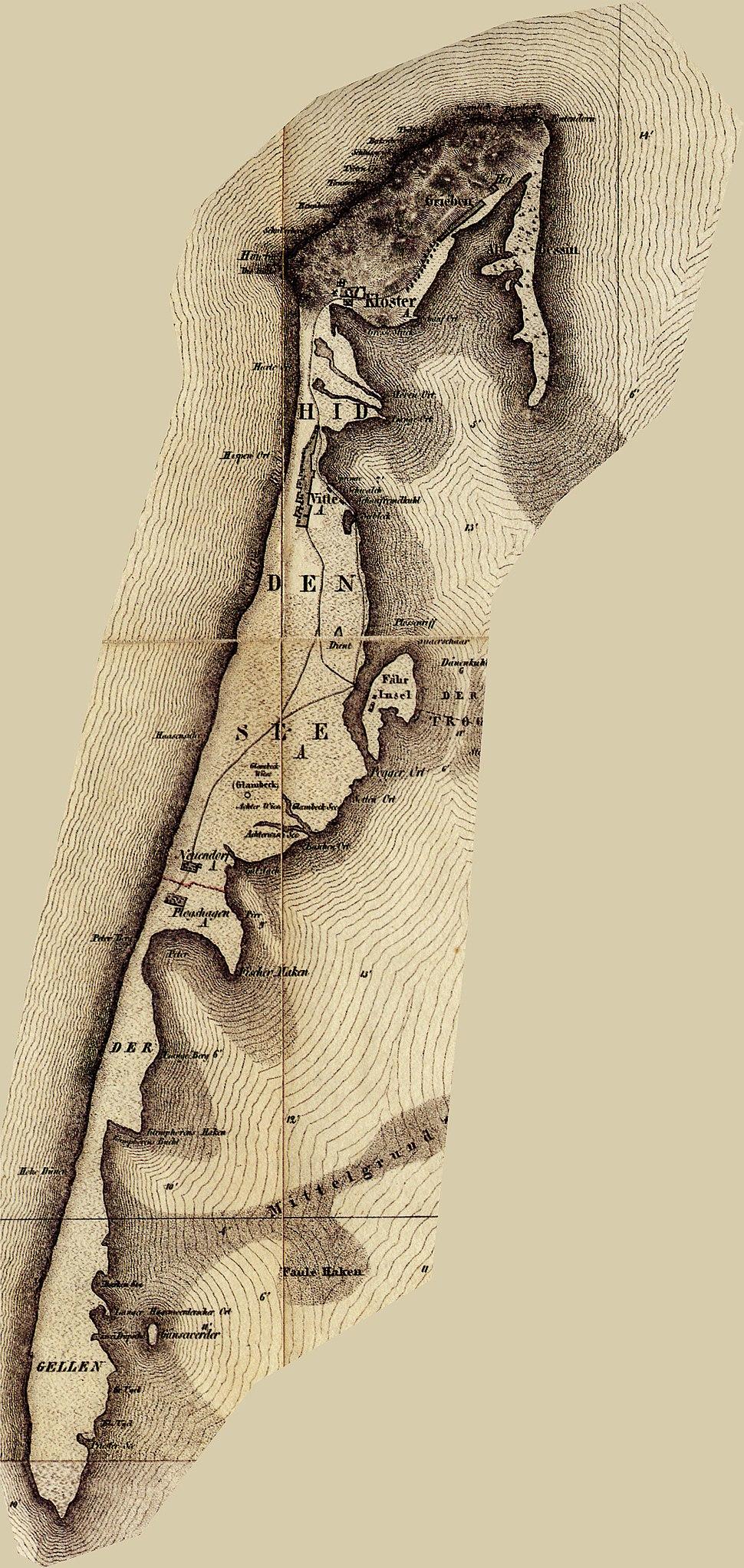 Hiddensee historische karte