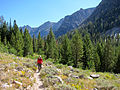 Hiker on Alpine Lake trail in Sawtooth Wilderness.jpg