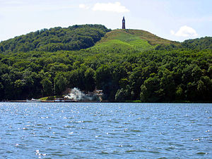 Søhøjlandet - The hill of Himmelbjerget as seen from lake Julsø. Himmelbjerget, situated in Søhøjlandet, is one of the highest points in the country.