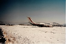 The only airplane visible on Sarajevo airport, beyond repair since the beginning of the war. The airport was on the frontline between the Serbs and the ...