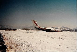 United Nations Protection Force - The only airplane visible on Sarajevo airport, beyond repair since the beginning of the war. The airport was on the frontline between the Serbs and the Bosniaks.