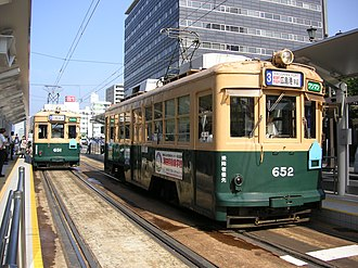 Hiroshima Electric Railway - Hiroden cars 651 and 652, which survived the atomic bomb  and were still running in Hiroshima as of 2015