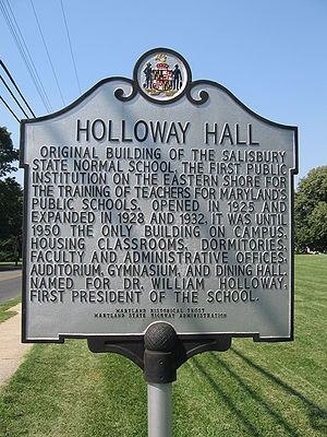 Salisbury University - Holloway Hall historical marker