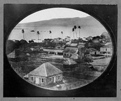 Honolulu from the Kawaiahao Church tower with Oahu Charity School, original by Hugo Stangenwald (PPWD-8-6-014).jpg