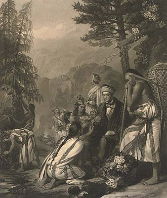 Joseph Dalton Hooker - An 1854 illustration showing Hooker with his Lepcha collectors in Sikkim (Mezzotint by William Walker after a painting by Frank Stone)