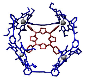 Porphyrin - An example of porphyrins involved in host–guest chemistry. Here, a four-porphyrin–zinc complex hosts a porphyrin guest.