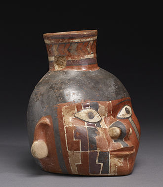 Wari culture - Image: Huari Head Pot with Painted Design Walters 482849 Three Quarter Right