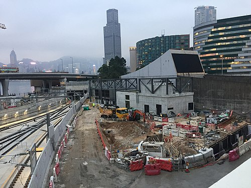 Hung Hom Station south side under extension in January 2018
