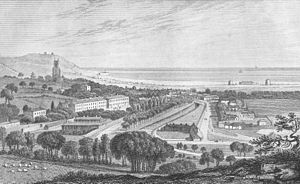 Hythe, Kent - View of Hythe ca. 1830, showing the military canal and four Martello towers near the shoreline. Source: Ireland's History of Kent.