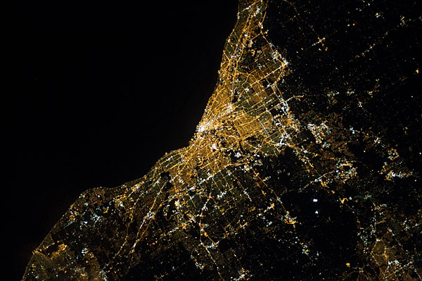 NASA satellite photograph of Cleveland at night. ISS-34 Night view of Cleveland, Ohio.jpg